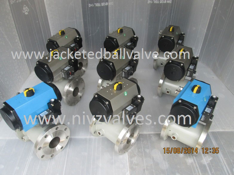 Jacketed Ball Valve With Pneumatic Actuator Operated